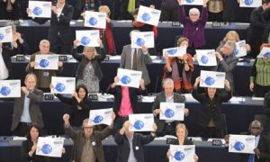 Voting in EU Parliament in Strasbourg for  protection and conservation of fishery resources