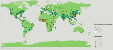 Predicted urban growth from 2010 to 2025 for cities that have a population of greater than 1 million in 2010.